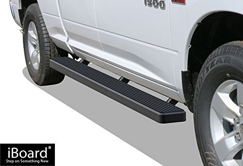APS iBoard Running Boards (Nerf Bars | Side Steps | Step Bars) for 2009-2018 Dodge Ram 1500 Quad Cab Pickup 4-Door | (Black Powder Coated 6 inches)