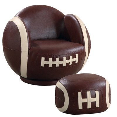 (Kid's Football Chair and Ottoman Set)