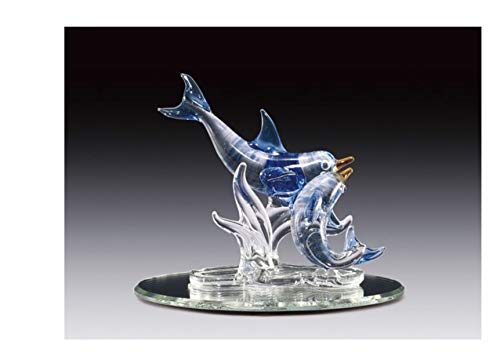 (Everspring Imports Blown Glass 2 Blue Dolphin on Oval Mirror Figurine)