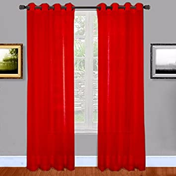 Red Curtains amazon red curtains : Amazon.com: Warm Home Designs Christmas Red Sheer Window Curtains ...