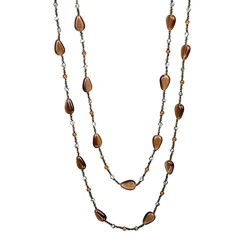 Unique Opal Beads Long Chain Necklace Brown Oval Cat's Eye Gem Sweater Necklace for Women Handmade Charms Jewelry 144cm Perimeter