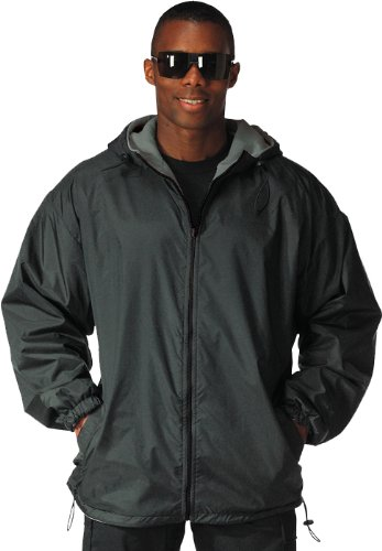 8264 Reversible Fleece-Lined Nylon Jacket w/hood,Black (2X-Large)