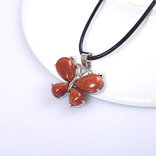 (Yuanxi Fashion Natural Crystal Pendant Butterfly with Necklace for Women Girlfriend Gifts (Red Sandstone))