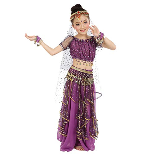 Maylong Girls Arabian Princess Dress up Belly Dance Outfit Halloween Costume (Small, Purple)]()
