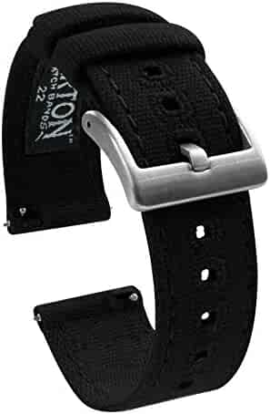 22mm Black - Barton Canvas Quick Release Watch Band Straps - Choose Color & Width - 18mm, 20mm, 22mm