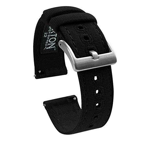 Barton Canvas Quick Release Watch Band Straps - Choose Color & Width - 18mm, 20mm, 22mm - Black - Canvas Band