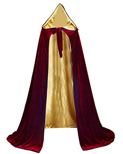 LuckyMjmy Velvet Renaissance Medieval Cloak Cape Lined with Satin (Medium, Wine red-Gold)
