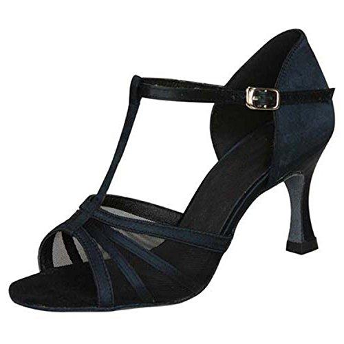 BYLE Sandalias de Cuero Tobillo Modern Jazz Samba Zapatos de Baile Zapatos de Baile Latino de Adultos de Verano Zapatos de Baile Negro Correa Onecolor