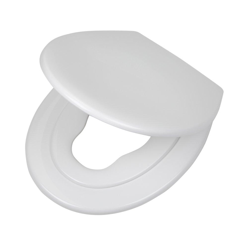 Tiger Toilettensitz Tulsa mit integriertem Kindersitz, Absenkautomatik und Easy-Clean-Funktion, Farbe: Weiß , Edelstahlbefestigung, 45 x 37 x 5 cm 250010646