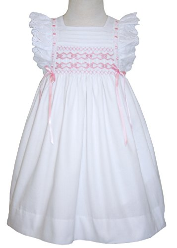 Smocked Pinafore (Baby Girls Hand Smocked Pinafore Dress in White Cotton and Pink Ribbons)
