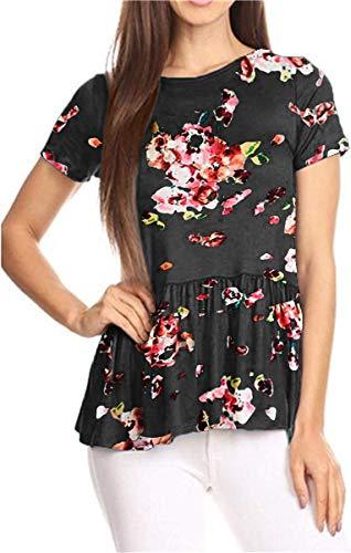 GOCHIC Womens Ruffle Hem Peplum Tunic Blouse Floral Print Short Sleeve T Shirt Tops #2Black S