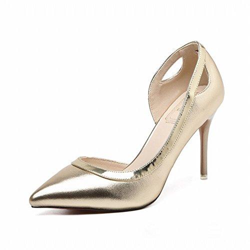 DHG Zapatos de Tacón Alto con Punta de Plata Zapatos Femeninos Finos con Los Zapatos Solos OL de OL,UN,35