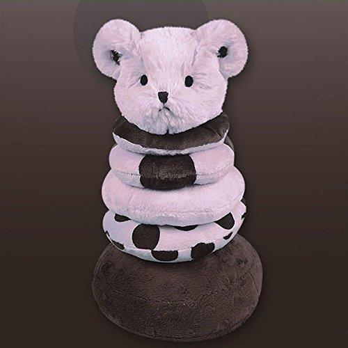 Bearington Baby Posh Dots Series: Plush Posh Dots Teddy Bear Stacker & Rattle Toy -