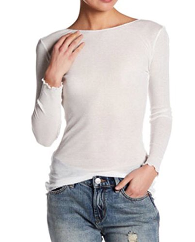 Free People Womens Modal Blend Ribbed Pullover Top White Xs