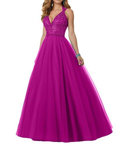 Charmant Tuerkis mit Pink Abendkleider Abschlussballkleider Damen Promkleider Perlen Langes Tuell frxwSfqTU