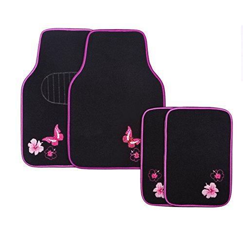 CAR PASS-Universal Fit Embroidery Butterfly and Flower Car Floor Mats,Universal fit for SUV,Trucks,sedans,Vans,Set of 4(Black with Pink) ()