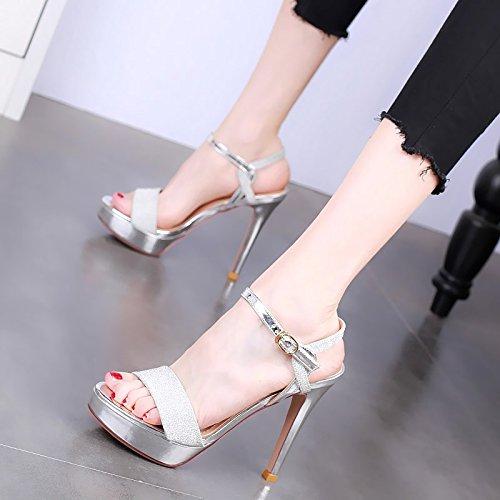 alto femminile sandali YMFIE alti punta tacco moda tacchi aperta Temperamento con partito abbottonatura a estiva Silver qxHRPwxt