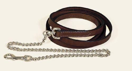 TORY LEATHER Single Ply Lead w/ Nickel Plated Chain ()