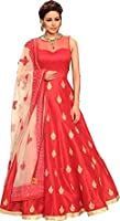 Bolly Lounge Women's gown Latest Party Wear Red Banglori silk Embroidery Free Size Salwar Suit (BLG#4)