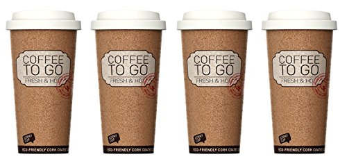 Reusable Insulated Corky Coffee To Go Mugs for Travel and Work - 16 Ounces ANTI-BACTERIAL & ANTI-SLIP Coffee/Tea Mugs (Set of 4)