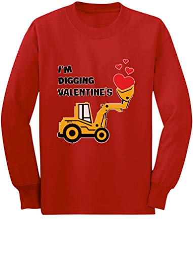 I'm Digging Valentine's Gift Tractor Loving Boy Toddler/Kids Long Sleeve T-Shirt 2T Red