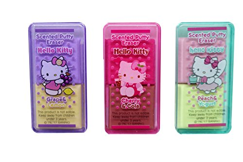 Hello Kitty Sanrio New Scented Colorful Putty Eraser Set of 3 Different Fragrances. (Juicy flavors 1) -
