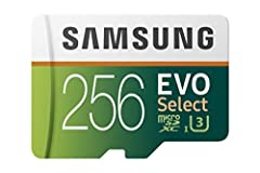 Simply the right card. With stunning speed and reliability, the Samsung 256GB micro SD EVO Select memory card lets you get the most out of your devices. Whether you are a power user or simply want to expand your device memory, this Micro SD c...