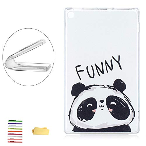 Kindle 8 inch Fire HD 8 Case (8th/7th/6th/5th Gen), UUcovers Flexible Soft TPU Back Crystal Clear Cover with Transparent Bumper Doodle Pattern for Amazon Fire HD 8 (2018/2017/2016/2015), Cute Panda ()
