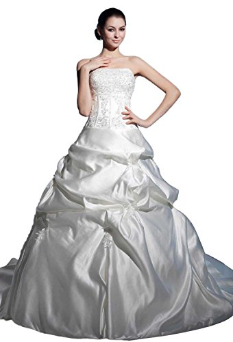 Angel Formal Dresses Strapless Pick Ups Beaded Lace-up Satin Wedding Dress(14,White)