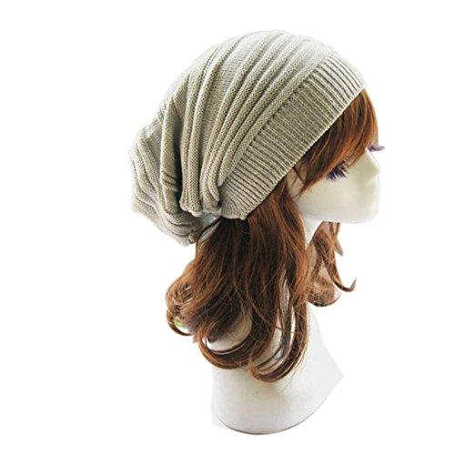 Unisex Winter Knit Slouchy Beanie Hat Ski Hat - Light Gray (Large Image)