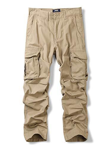 OCHENTA Men's Cotton Military Cargo Pants, 6 Pockets Casual Work Combat Trousers Khaki 40 ()