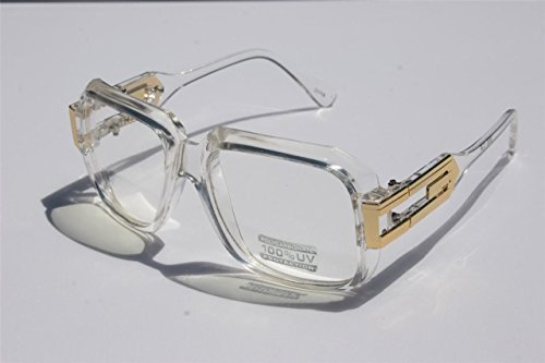 Square Cazal Gazelle Style SunGlasses Gold Metal Accents DMC - Multi Selection Clear Frame / Clear (Cazal Glasses)