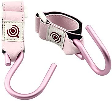 【2個】 Candeer フック ベビーカー マジックテープ式S字フック 滑り止め 耐荷重5kg自転車 車椅子 収納 取扱簡単 携帯型 荷物掛け (Pink)