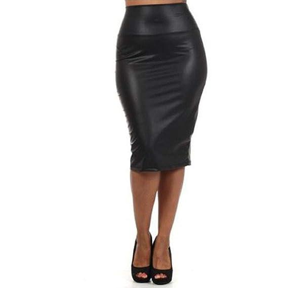 QIjinlok Faldas de Cuero Mujer Talla Grande Falda Tubo Mujer Sexy ...