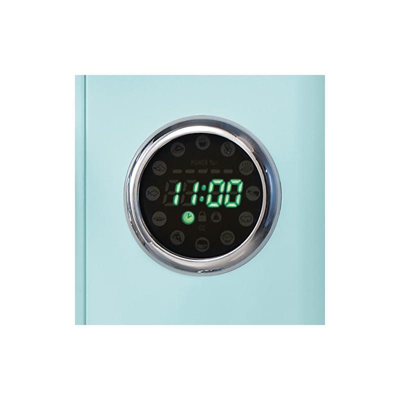 Nostalgia RMO4AQ Retro Large 0.9 Cu Ft, 800-Watt Countertop Microwave Oven 12 Pre-Programmed Cookin, Digital Clock, Easy…