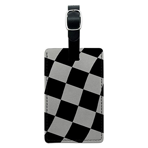 Graphics & More Checkered Racing Flag Leather Luggage Id Tag Suitcase Carry-on, -