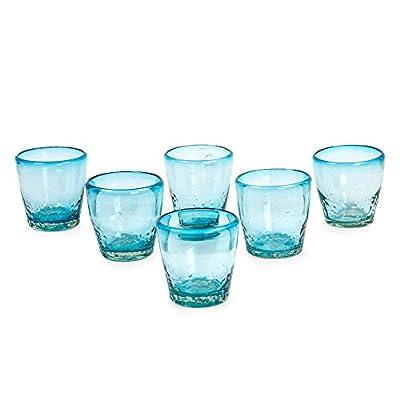 NOVICA Hand Blown Blue Glass Juice Glasses, 11 oz. 'Delicious Blue' (set of 6)