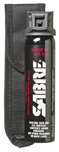 SABRE 3-IN-1 Pepper Spray - Police Strength - with Flip Top and Belt Holster (4.36 oz)