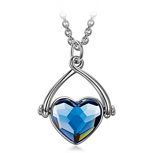 J.NINA Heart Swing Pendant Necklace with Sapphire Swarovski Crystals. Birthday Anniversary for Mom Daughter Wife Sister Fiancée Jewelry Gift for Her ()