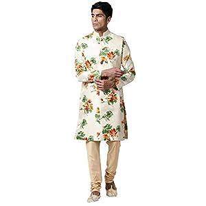 SVANIK Cream & Orange Floral Print Men's Sherwani