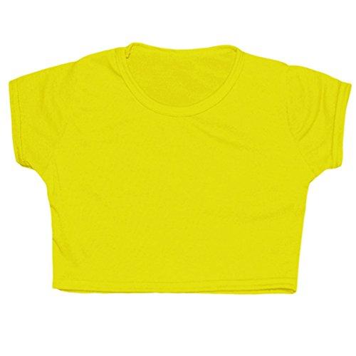 Kids Girls Neon Plain Short Sleeves Crop Belly Dance Sports Gymnastic Tops Age: 5-13 Years