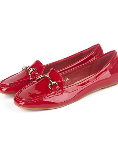 PDX/ Damenschuhe - Ballerinas - Lässig - Kunstleder - Flacher Absatz - Komfort / Quadratische Zehe / Geschlossene Zehe -Schwarz / Rosa / Rot / , red-us6 / eu36 / uk4 / cn36 , red-us6 / eu36 / uk4 / cn