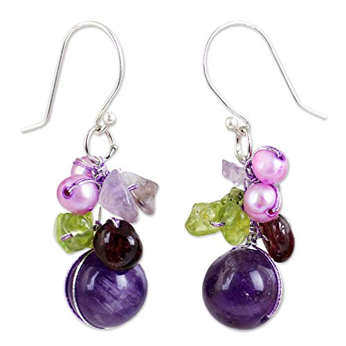 novica-garnet-and-amethyst-cluster-earrings-with-cultured-freshwater-pearls-bright-bouquet