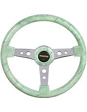 عجلة قيادة سيارة عاج مع زر الة التنبيه من مومو، 13 بوصة - اخضر وفضي