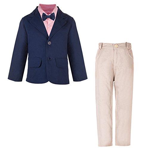 Little Boys Leisure Suit Clothing Set 4 Pieces Jacket&Shirt&Pants&Bowtie Outfit (5T) (Kids Dress Shirt 5t)
