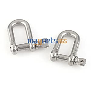 2pcs Boats Marine Metal M4/4mm Screw Pin Anchor Chain D Shackle Rigging Tool
