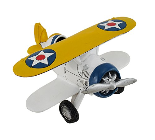 Airplane Bank (Yellow, White And Blue Biplane Airplane Coin Bank)