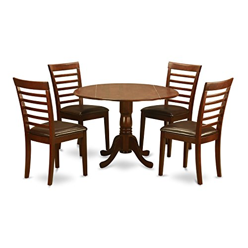 East West Furniture DLML5-MAH-LC 5 Pc Small Kitchen Table and Chairs Set-Small Kitchen Table and 4 Dining Chairs