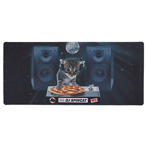41XF6Jc%2BQLL - Extended Gaming Mouse Pad - DJ Pizza Cat Theme - XXL Extra Large Desk Pad Mouse Pad - Precision Mousing and Water Resistant Surface, 34.5 x 15.75 x 0.12 Inches