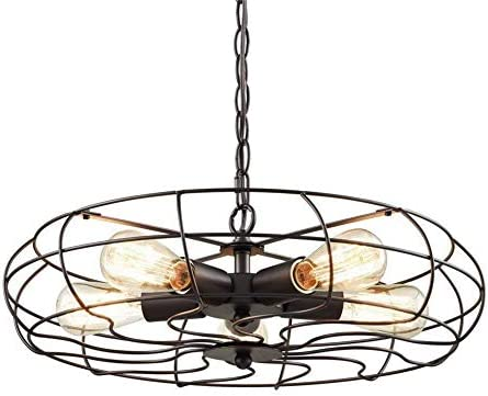 OYI Vintage Industrial Retro Ceiling Chandelier Light, 5 Light Semi Flush Mount Oil Rubbed Bronze Hanging Light Fixtures Fan Cage Style Rustic Pendant Lamp Black-39inch Chain